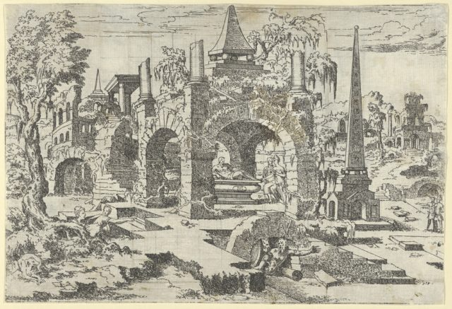Landscape with Arched Tomb and an Obelisk
