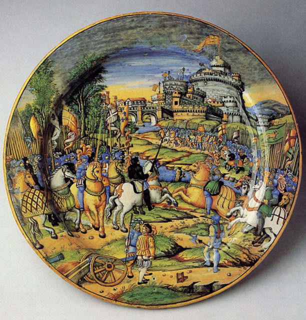 Large plate (grande piatto): An episode from the Sack of Rome, 1527: the assault on the Borgo (?)