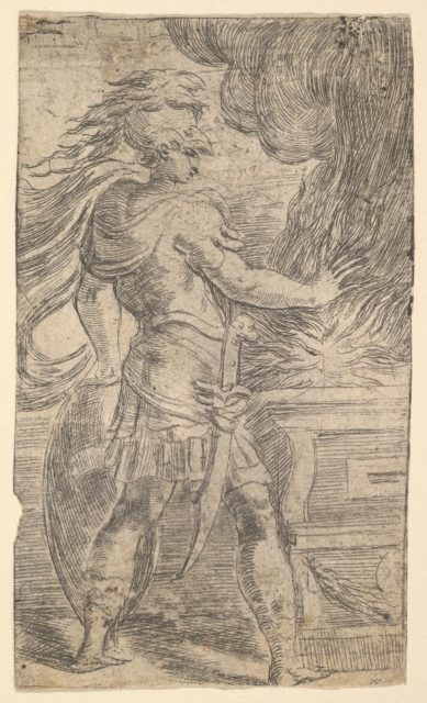 Mutius Scaevola placing his hand in the flames (left half of a composition, whose right half shows woman extending her right arms towards an altar)