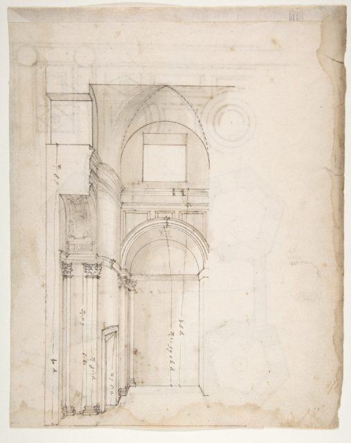 S. Giovanni Laterno, Oratorio della Santa Croce, section, perspective (recto) blank (verso)