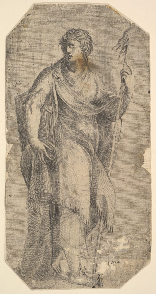 Saint Matthew holding a staff and a book, turning to the left