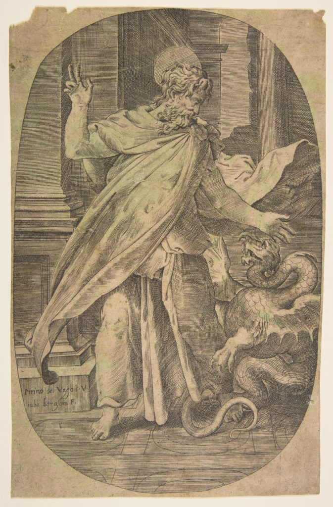 St Paul overcoming the viper, within an architectual setting, an oval composition