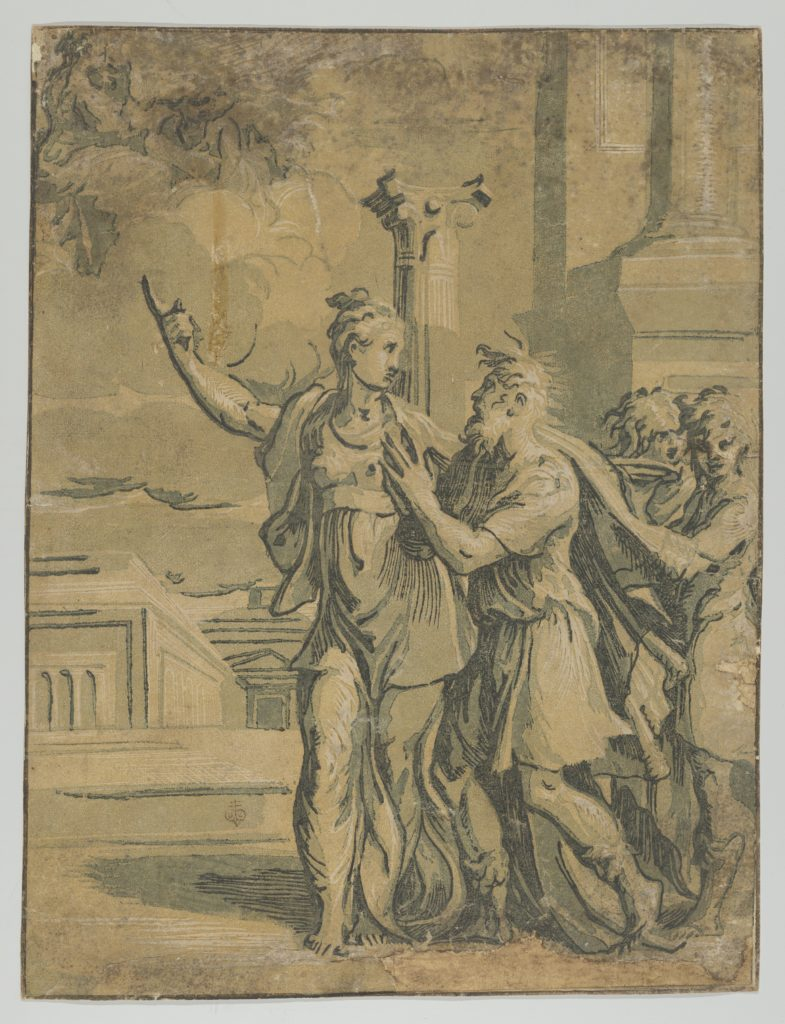 The Tirburtine Sibyl telling the Emperor Augustus of the coming in Christ, after Parmigianino