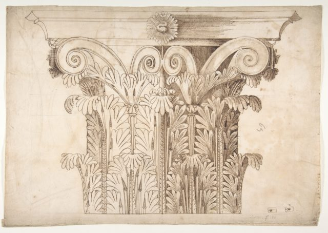 Unknown, Corinthian capital, elevation (recto) Unknown, Corinthian capital, plan diagram and detail (verso)