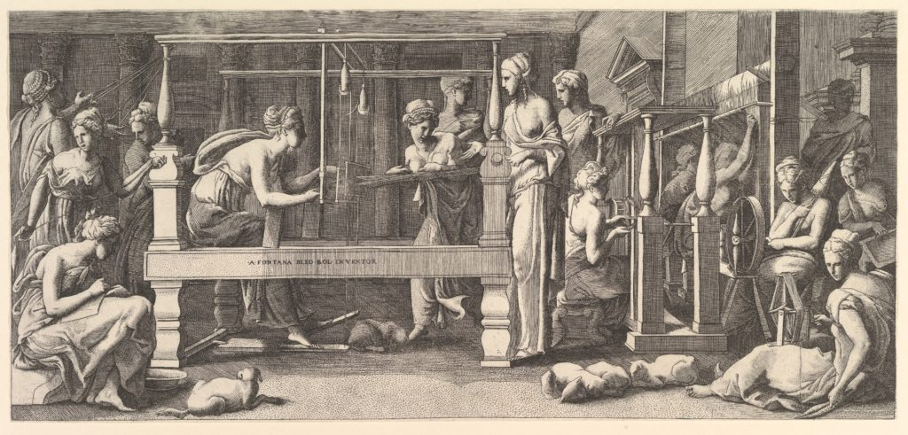 Women spinning, weaving and sewing