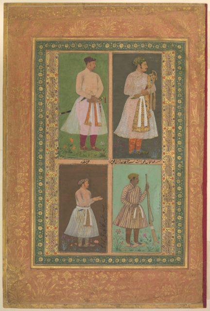 """Four Portraits: (upper left) A Raja (Perhaps Raja Sarang Rao), by Balchand; (upper right) 'Inayat Khan, by Daulat; (lower left) 'Abd al-Khaliq, probably by Balchand; (lower right) Jamal Khan Qaravul, by Murad"", Folio from the Shah Jahan Album"