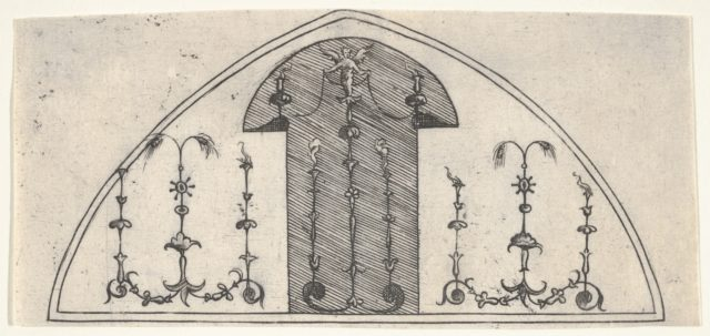 Lancet-shaped panel of grotesque decoration