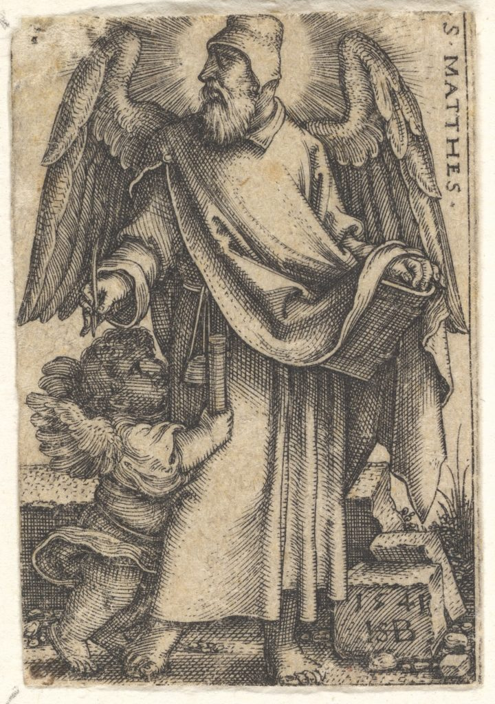 Plate 1: Saint Matthew with his head turned in profile to the left, a cherub at bottom left, from 'The four evangelists'