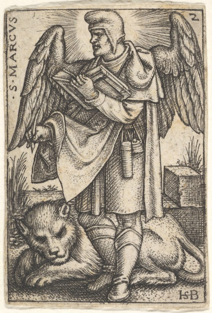 Plate 2: Saint Mark, his head turned in profile to the left, with an open book in his right hand and a lion at his feet, from 'The four evangelists'