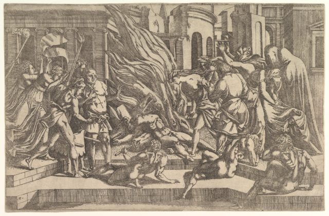 Burning of a male corpse surrounded by dressed and undressed figures in a stepped architectural setting