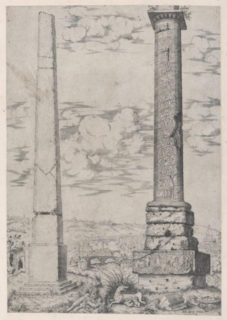 Speculum Romanae Magnificentiae: Column of Antoninus and a Roman Obelisk