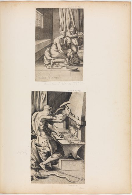 Venus and Mars Embracing as Vulcan Works at His Forge (right half only)