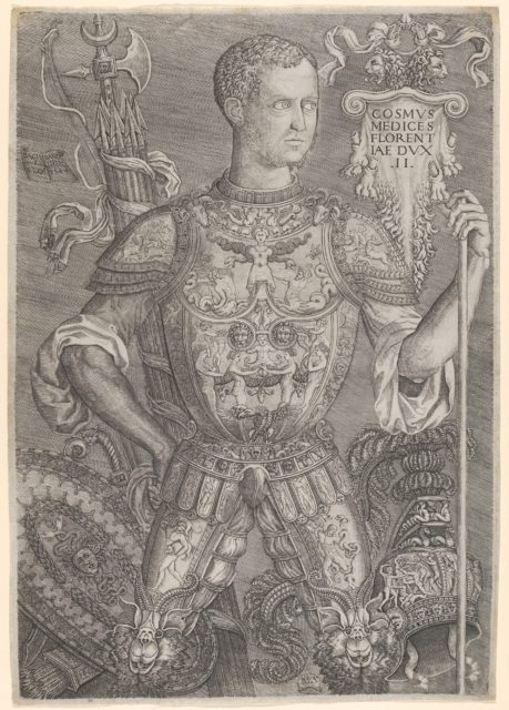 Portrait of Cosimo de' Medici in full armour, his left hand resting on a staff