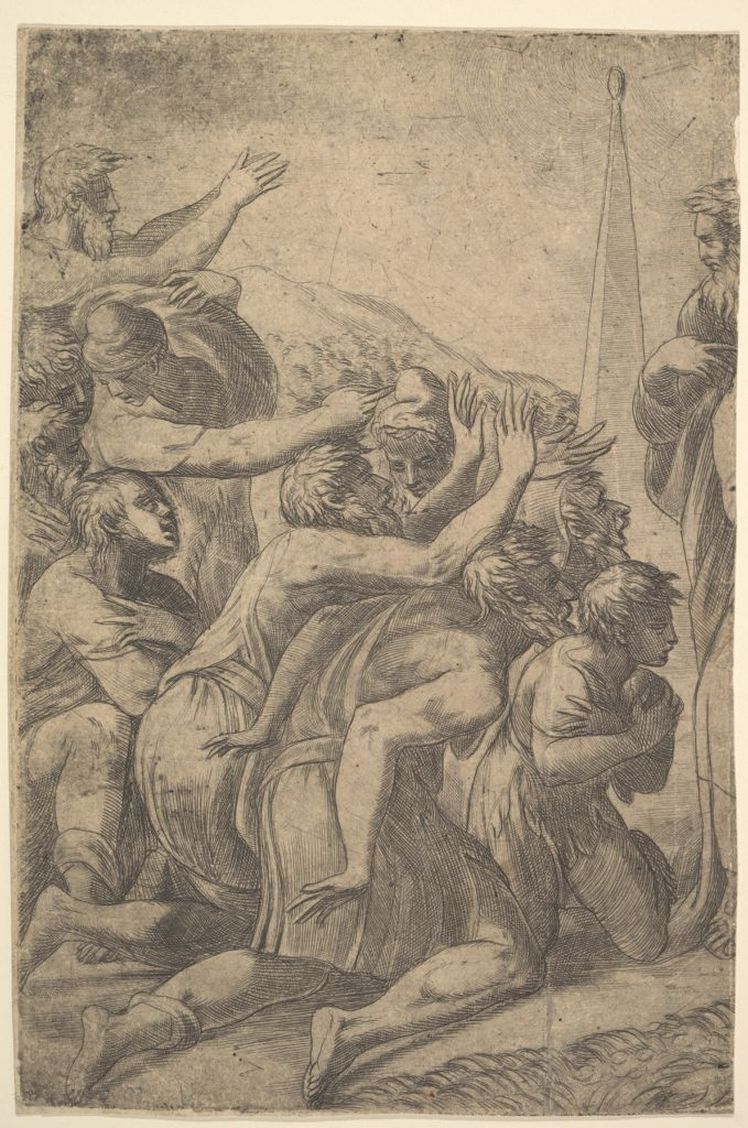 Christ standing at the right healing the lepers before him (left section of the print)