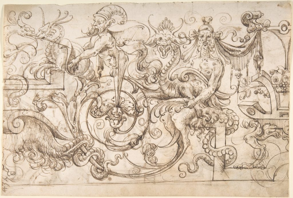 Design for a Frieze with Grotesques in the Flemish Style (recto); Winged Term and Other Terms with Grotesque Birds (verso)
