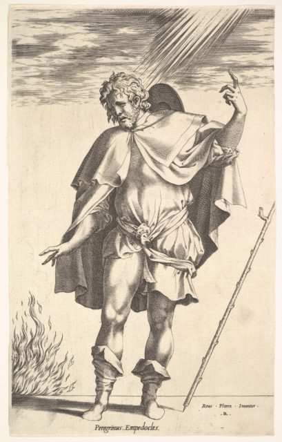 Empedocles, standing frontally with his head turned in three-quarter view, directs his gaze toward a flame (the crater of Mount Aetna?) emerging from a horizontal ground line, a walking stick leans toward the right margin