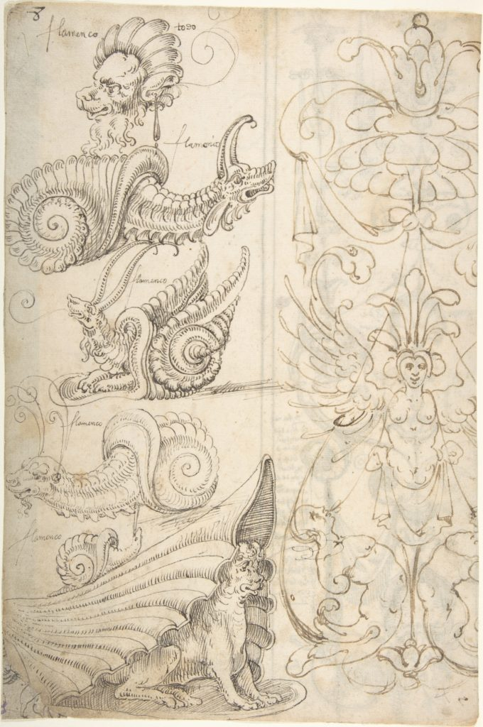 Flemish Grotesque Creatures and a Candelabra Grotesque (recto); Candelabra Grotesques with Mask (verso)