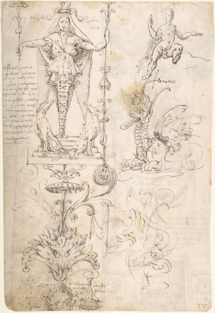 Four different Figure Studies (recto); Grotesque Designs (verso)