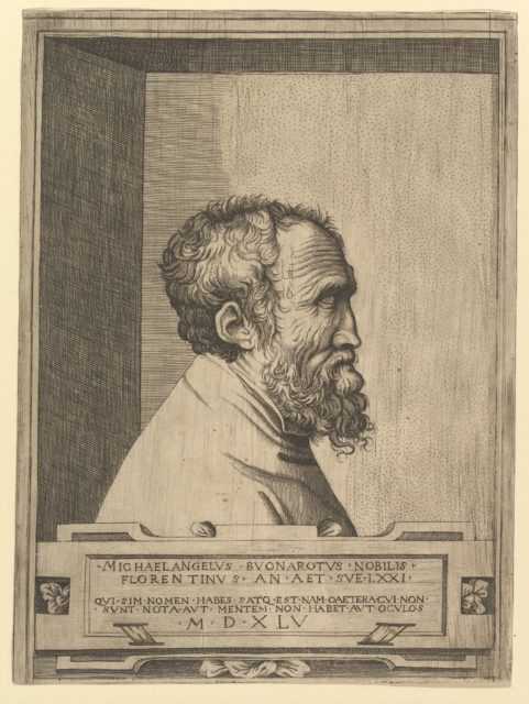 Portrait of Michelangelo in profile facing right set within a recess
