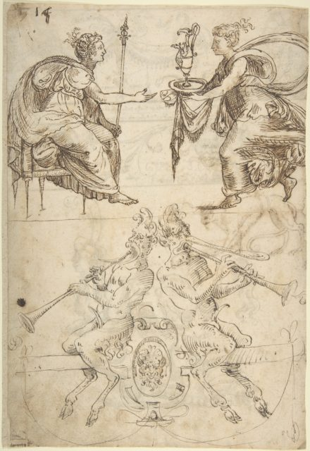 Sheet with multiple Designs: Figurative Scene with Two Women (top) and Two Satyrs Playing Horns, Seated Back to Back (bottom) (recto); Three Candelabra Grotesques (verso)