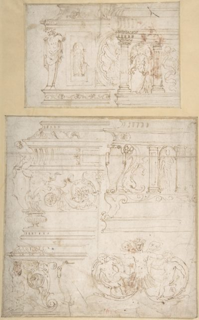 Sketches for the Design of a Casket (recto); Battle of the Centaurs and Lapiths(?) (verso)