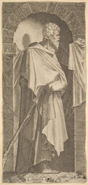 St. James Minor(?) in an arcuated niche, holding a walking stick in his hands, which are covered by his cloak, from a series of full-length figures of Christ and the Twelve Apostles