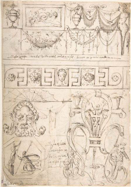 Three Bands Friezes with Grotesques and Several Figure Studies (recto); Term with a Marine Creature (Zephyr) (verso)