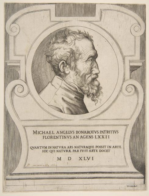 Bust portrait of Michelangelo facing right, set within a cartouche.