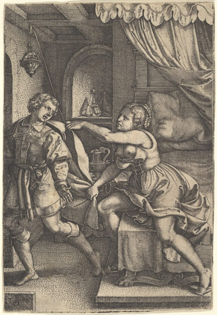 Joseph strides away from Potiphar's wife, who clutches his cloak with both hands as she straddles the corner of a bed, from the series 'The Story of Joseph'