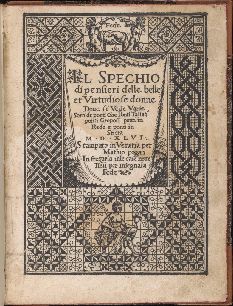 Spechio di pensieri delle belle et Virtudiose donne, title page (recto)