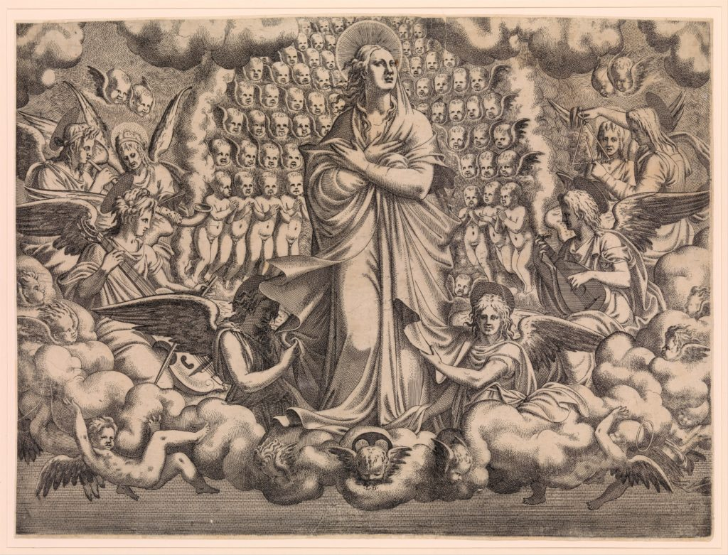 The Apostles looking at Christ and the Virgin in a Glory of Angels (top left plate)