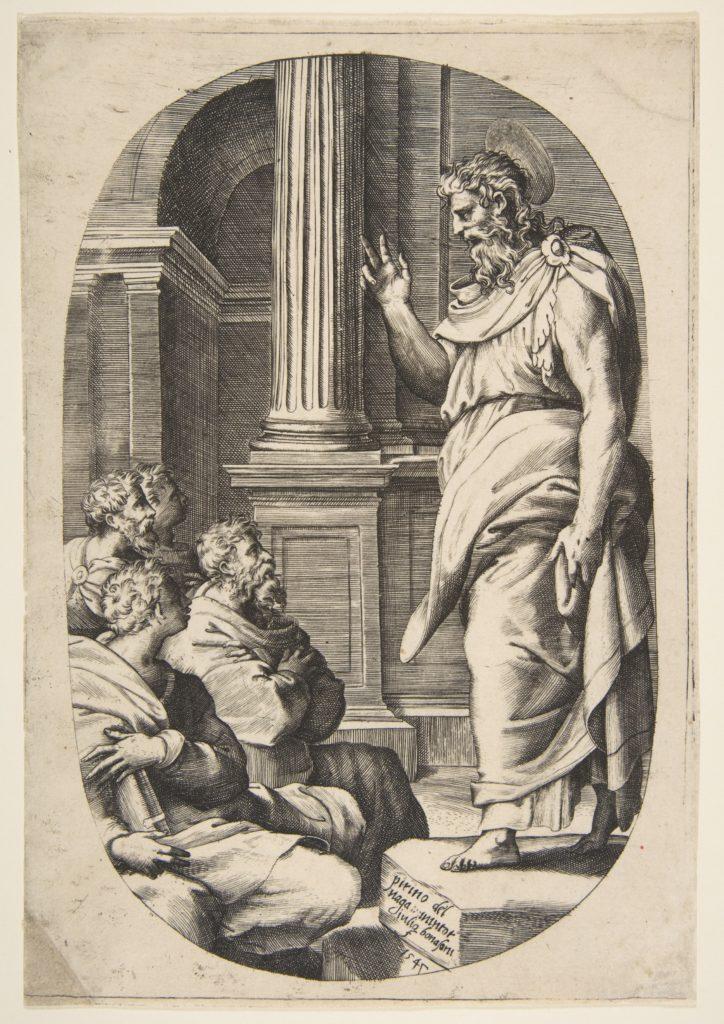 Saint Paul Preaching, an oval composition