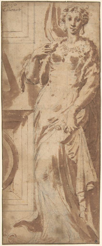 Standing Female Figure and Ornamental Framework.