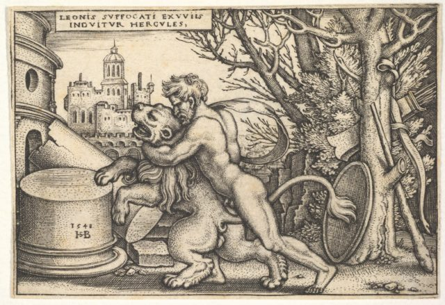 Hercules, in profile, killing the Nemean lion with his arm around its neck, from 'The labors of Hercules'