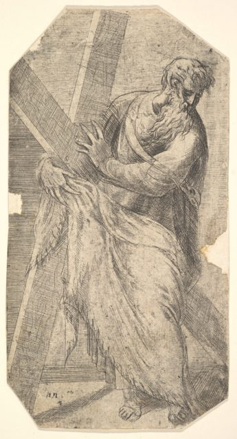 Saint Andrew holding a large cross, from 'Christ and the Apostles'