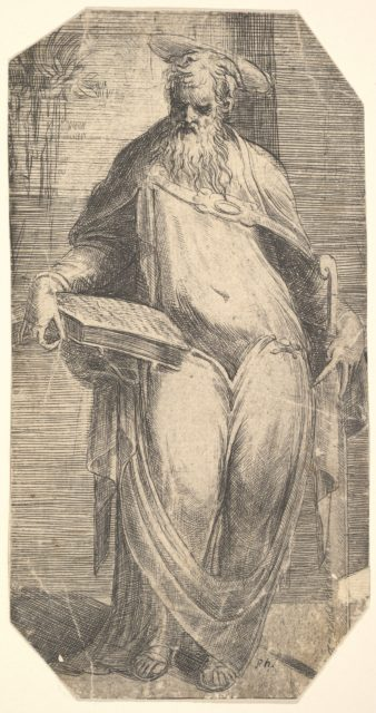 Saint Simon standing, supporting a book on his right thigh, from 'Christ and the Apostles'