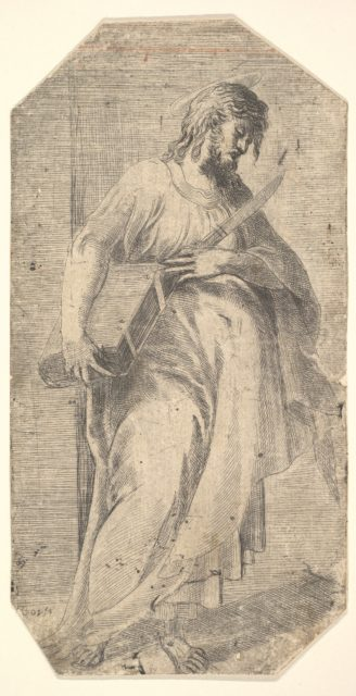 Staint Bartholomew facing right,  book under his right arm, knife in his left hand, from 'Christ and the Apostles'