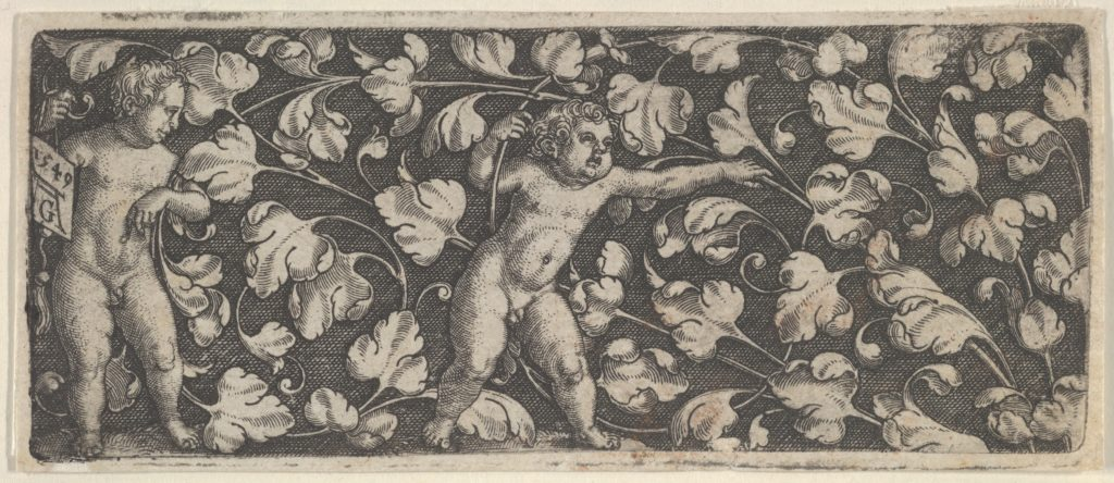 Horizontal Panel with Two Nude Boys Surrounded by Tendrils