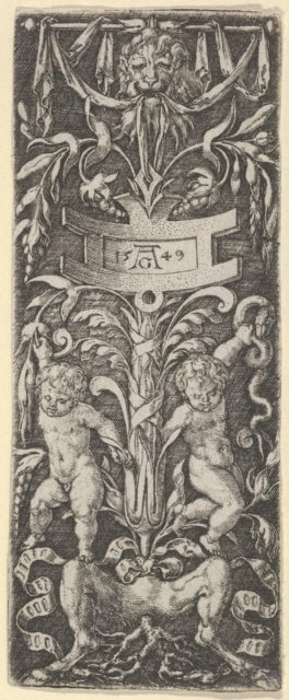 Panel of Ornament with Two Nude Boys Standing on the Legs of a Satyr