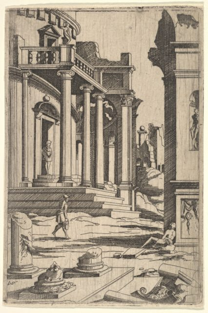 Classizing Landscape with Three Figures, from a series of architectural ruins with figures, in reverse after prints by Jacques Androuet Ducerceau after Léonard Thiry