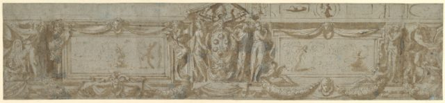 Design for a Frieze with Central Cartouche Containing Medici Arms with Papal Tiara