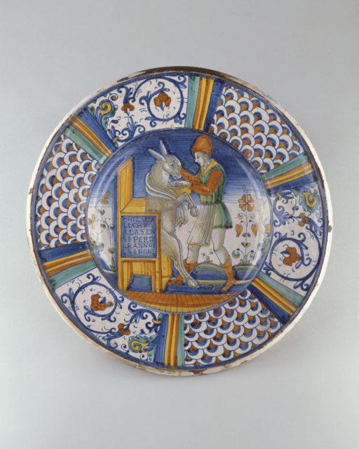 Dish (piatto): Man Washing the Mouth of an Ass