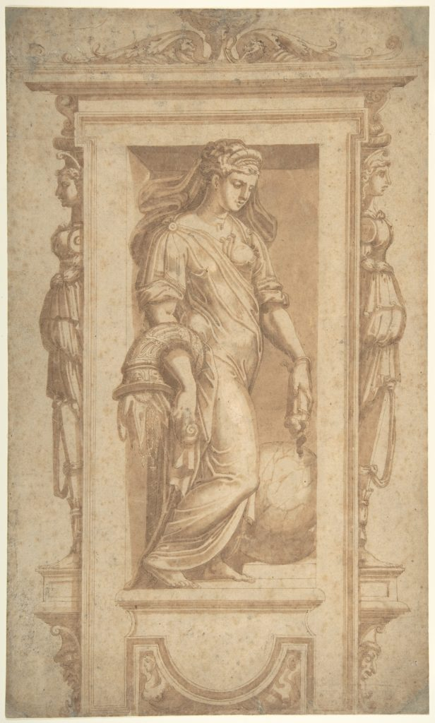 Female Allegorical Figure of Benignitas (Goodness), with Attributes of Abundance Standing in a Niche (recto); Architectural Sketches (verso)