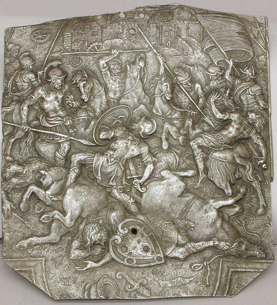 Fragment of an Embossed Armor Depicting Combat of Horsemen