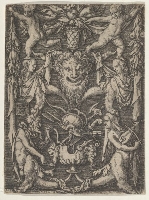 Panel with Grotesque Candelabrum Containing Satyrs, Children and a Trophy