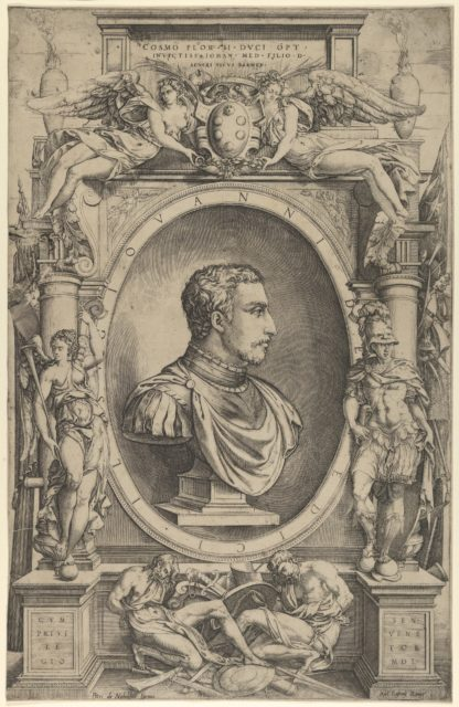 Portrait of Giovanni de' Medici facing right within an elaborate cartouche flanked by Victory at the left and Mars at right, winged figures holding Medici coat of arms upper centre
