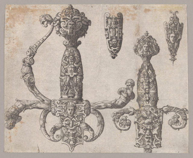 Sheet with Four Designs for Relief Decorations on Arms: Two Large Hilts for a Sword and a Dagger, and  the Ornaments for the Tips of the Sheaths