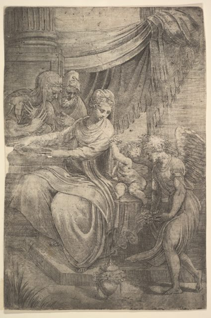 The Holy Family, an angel holding flowers approaching from the right