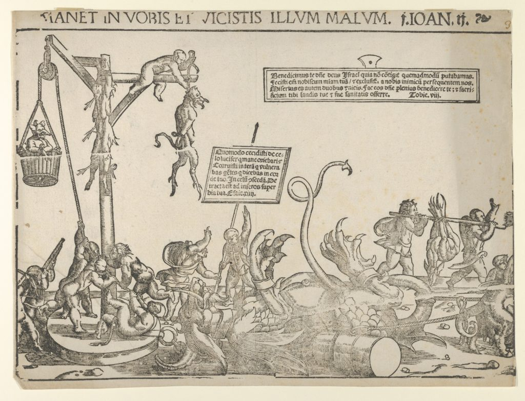 The Triumph over Evil: many infants, some playing instruments others carrying weapons leading a procession, at the left a demon is being dragged along, another demon is hung from gallows, another pierced with arrows (three sheets from a longer frieze)