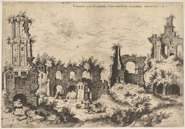 View of ruins on the Palatine Hill with trabeated facade at left and arcades at center, from the series 'The Ruins of Rome' (Praecipua aliquot Romanae antiquitatis ruinarum monimenta, vivis prospectibus)